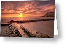 Beautiful Waikiki Sunset Greeting Card by Tin Lung Chao