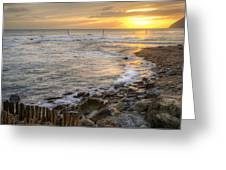 Beautiful Warm Vibrant Sunrise Over Ocean With Cliffs And Rocks Greeting Card