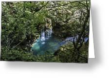 Beautiful Waterfall In The Mountains In Navarra Greeting Card