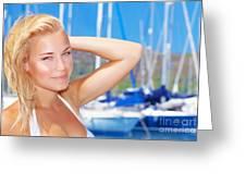 Beautiful Woman In Sailboat Harbor Greeting Card