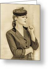 Beautiful Woman In Vintage Forties Clothing Greeting Card