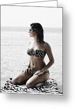 Beautiful Woman On The Beach Greeting Card by Jelena Jovanovic