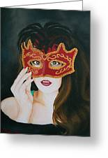 Beauty And The Mask Greeting Card
