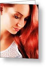 Beauty In Red Hair Greeting Card
