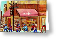 Beauty's Restaurant Paintings Of Plateau Montreal Winter Scenes Hockey Art Carole Spandau  Greeting Card