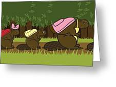 Beaver Family Walk Greeting Card by Christy Beckwith