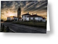 Beavertail Lighthouse Sunset Greeting Card