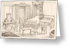Bedchamber Furniture In The Japanese Greeting Card