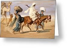 Bedouin Family Travels Across The Desert Greeting Card