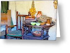 Bedside In A Pilgrim Cottage Greeting Card