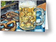 Beer And A Pretzel Greeting Card