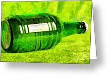 Beer Bottle Laying Over Green Painting Greeting Card