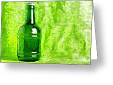 Beer Bottle Over Green Painting Greeting Card