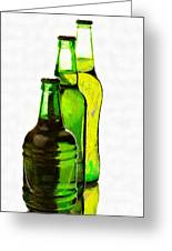 Beer Bottles Of Different Shapes Painting Greeting Card