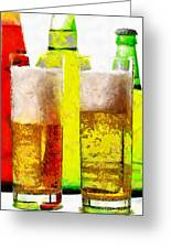 Beer Glasses Against Bottles Closeup Painting Greeting Card