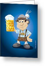 Beer Stein Lederhosen Oktoberfest Cartoon Man Greeting Card