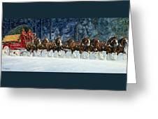 Clydesdales 8 Hitch On A Snowy Day Greeting Card