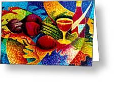 Beet Salad Pointillism Greeting Card