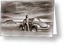 Beetles At The Beach Greeting Card