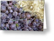 Beets And Mini Onions At The Market Greeting Card