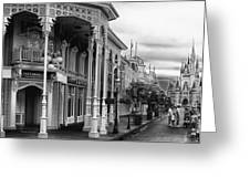 Before The Gates Open In Black And White Walt Disney World Greeting Card