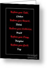 Before You  Greeting Card by Barbara Griffin
