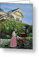 Behind The Garden Gate Greeting Card by Linda Simon