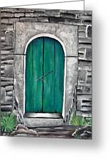 Behind The Green Door Greeting Card