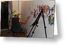 Behind The Scenes Mural 5 Greeting Card by Becky Kim