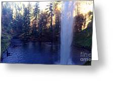 Behind Water Fall  Greeting Card