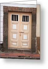 Beige Double Doors Greeting Card