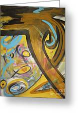 Being Easy Original Abstract Colorful Figure Painting For Sale Yellow Umber Blue Pink Greeting Card