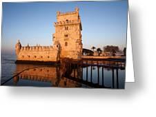 Belem Tower At Sunrise In Lisbon Greeting Card