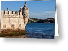 Belem Tower Fortification On The Tagus River Greeting Card