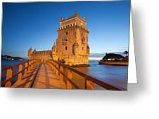 Belem Tower In Lisbon Illuminated At Night Greeting Card