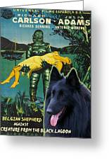 Belgian Shepherd Art Canvas Print - Creature From The Black Lagoon Movie Poster Greeting Card