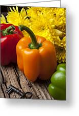 Bell Peppers And Poms Greeting Card by Garry Gay