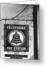 Bell Telephone Sign, C1899 Greeting Card