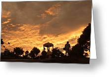 Bell Tower At Sunset Greeting Card
