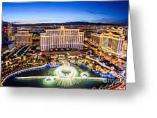 Bellagio Rountains From Eiffel Tower At Dusk Greeting Card