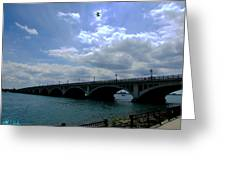 Belle Isle Bridge Detroit Greeting Card by Michael Rucker