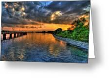 Belle Isle Pier Sunset Detroit Mi Greeting Card