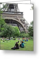 Below The Eiffel Tower Greeting Card