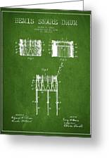Bemis Snare Drum Patent Drawing From 1886 - Green Greeting Card