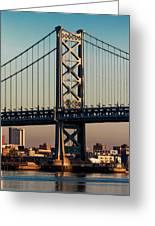 Ben Franklin Bridge Over Delaware River Greeting Card