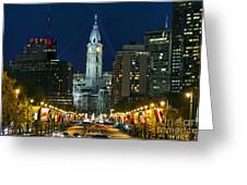 Ben Franklin Parkway And City Hall Greeting Card
