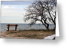 Bench And Beach Greeting Card