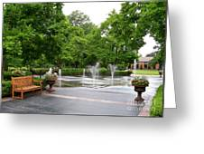 Bench And Fountain Greeting Card