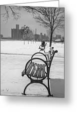 Bench At Belle Isle With Detroit I Greeting Card