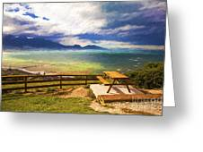 Bench At Kaikora With Approaching Storm Greeting Card